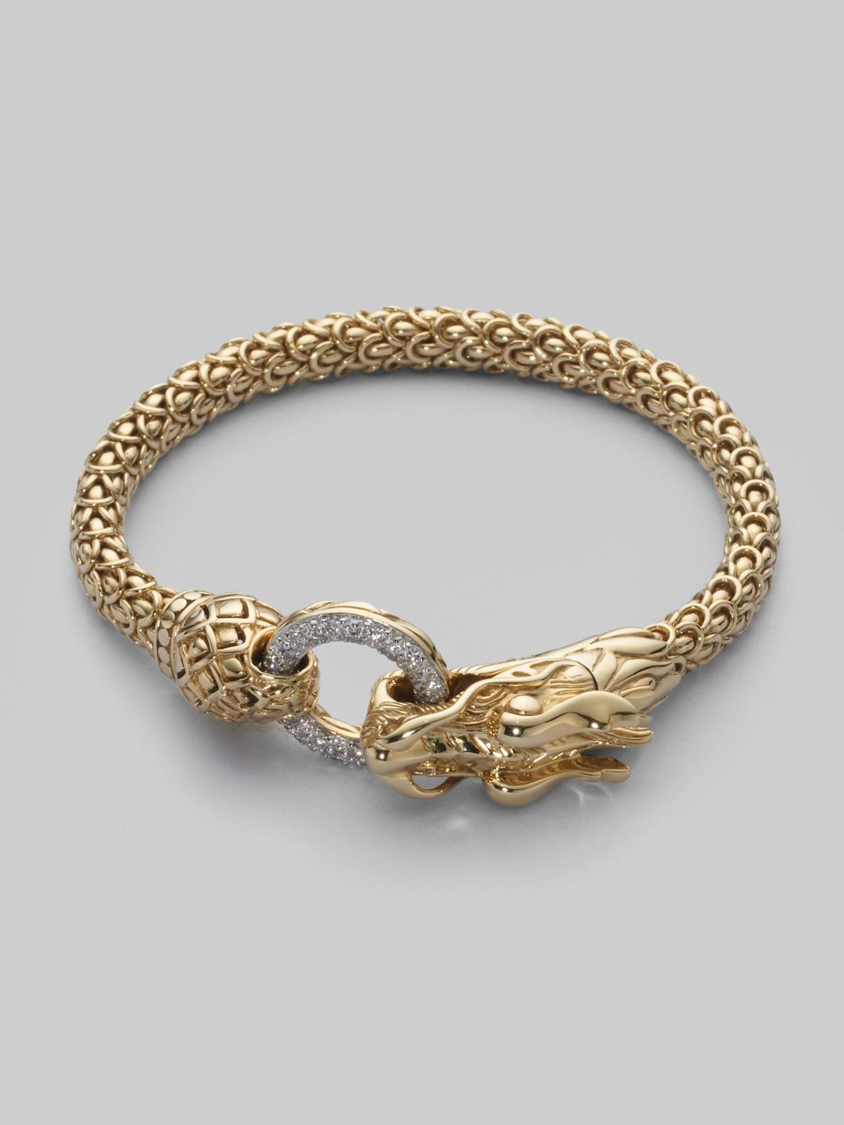 John Hardy Diamond Amp 18k Gold Dragon Bracelet In Gold Lyst