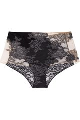 La Perla Lace-appliquéd Stretch-mesh High-waisted Briefs