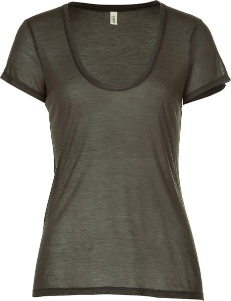 L'agence Short sleeve tshirt in Green (olive) - Lyst