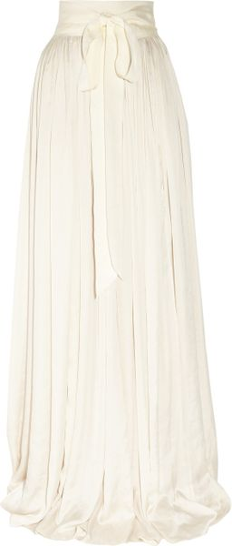 Lanvin Draped Satin Maxi Skirt in Beige (ivory) - Lyst