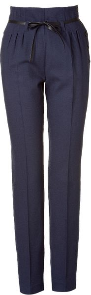 See By Chloé  High Waisted Pants with Belt in Blue - Lyst