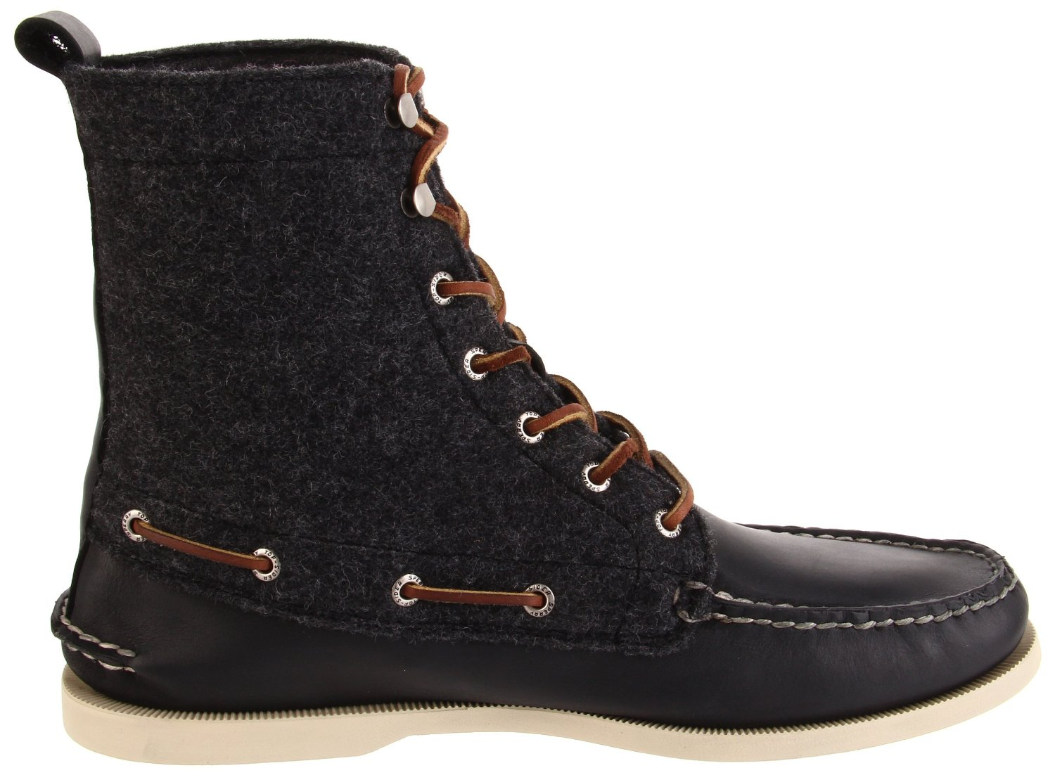 sperry top sider 7 eye boots in gray for black gray