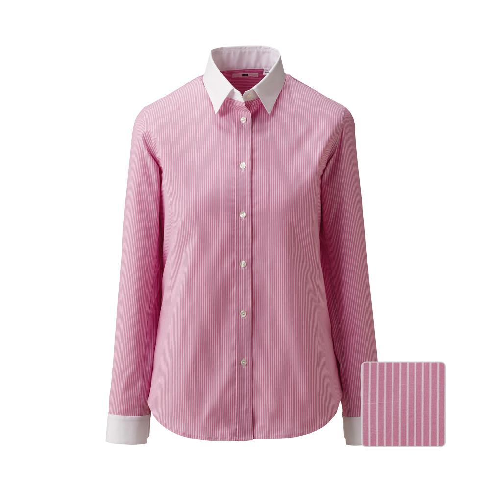 Uniqlo women uv cut stretch broadcloth cleric long sleeve for Uv long sleeve shirt womens
