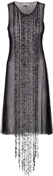 Ann Demeulemeester Sheer Dress in Black - Lyst