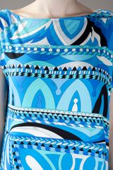 Emilio Pucci Cap Sleeved Dress in Blue - Lyst