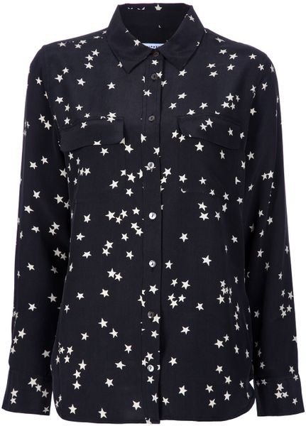 Equipment Black Silk Star Shirt in Black - Lyst