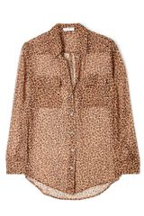 Equipment Blush Leopard Print Chiffon Signature Shirt