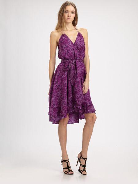 Haute Hippie Halter Ruffle Dress In Purple Violet Lyst