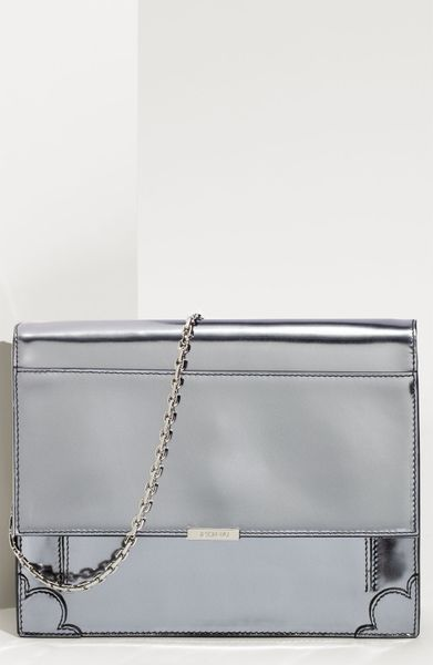 Jason Wu Stella Patent Calfskin Shoulder Bag in Silver - Lyst