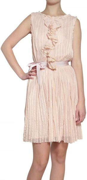 luisa beccaria embroidered pleated tulle dress in pink