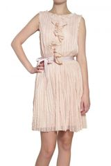 Luisa Beccaria Embroidered & Pleated Tulle Dress - Lyst