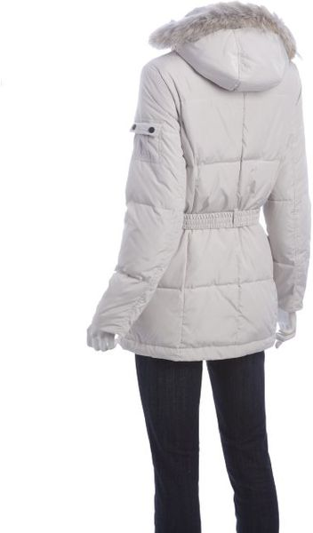 Marc New York Ivory Quilted Down Coyote Fur Trimmed Hooded