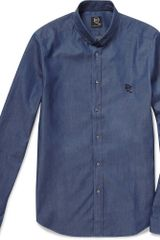 McQ by Alexander McQueen Slim-fit Safety-pin Collar Denim Shirt - Lyst