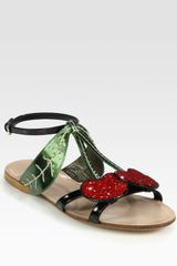 Miu Miu Glitter Cherry Metallic Leather and Patent Leather Sandals - Lyst