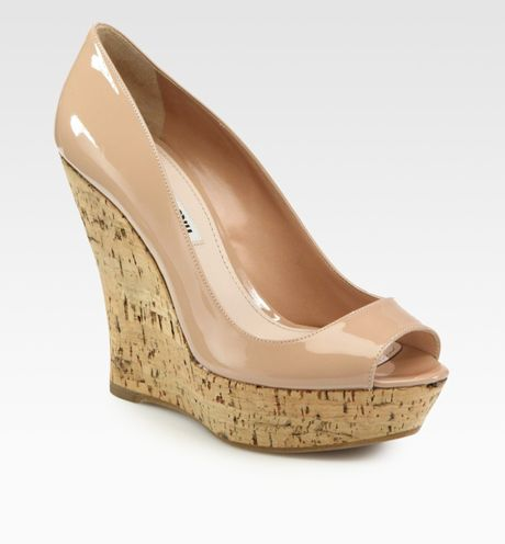 Miu Miu Patent Leather Peep Toe Wedge Pumps in Beige (nude)