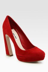 Miu Miu Suede Flareheel Platform Pumps in Red (cherry) - Lyst