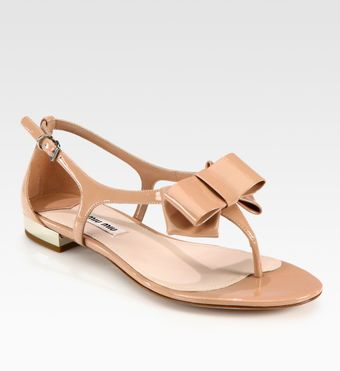 Miu Miu Patent Leather Tstrap Bow Sandals - Lyst