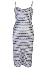 Monrow Long Bustier Dress in Gray (cream) - Lyst