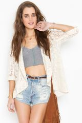Nasty Gal Lana Lace Jacket - Cream - Lyst