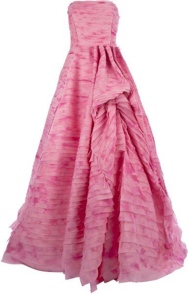 Oscar De La Renta Strapless Gown in Pink - Lyst