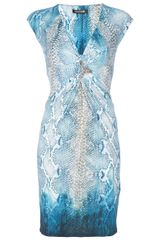 Roberto Cavalli Brooch Detail Dress in Blue - Lyst