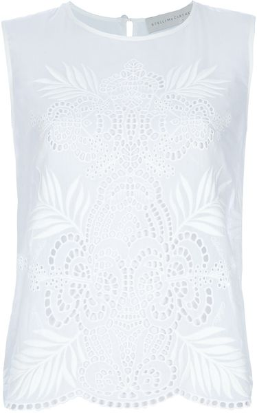 Stella Mccartney Lace Detail Blouse in White - Lyst
