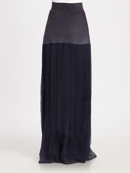 theory ruti chiffon maxi skirt in blue navy lyst