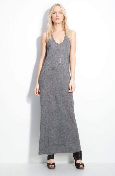 Zadig & Voltaire Jossy Bead Detail Maxi Dress in Gray (chine grey)
