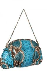 Zagliani New Greta Pyton Shoulder Bag in Blue (turquoise) - Lyst