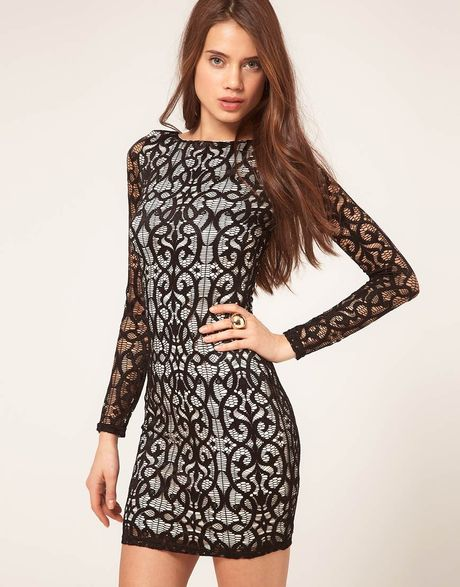 Asos Collection Contrast Lace Bodycon Dress in Black (blackcream) - Lyst
