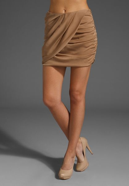 Haute Hippie Drape Front Mini Skirt in Brown (taupe) - Lyst