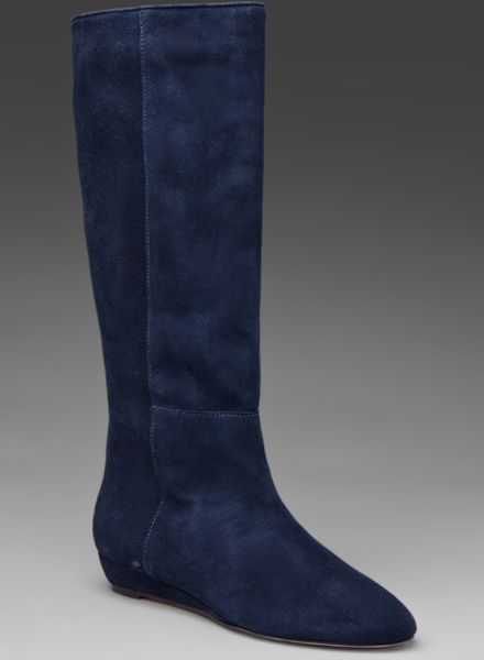 loeffler randall classic matilde flat boot in blue navy