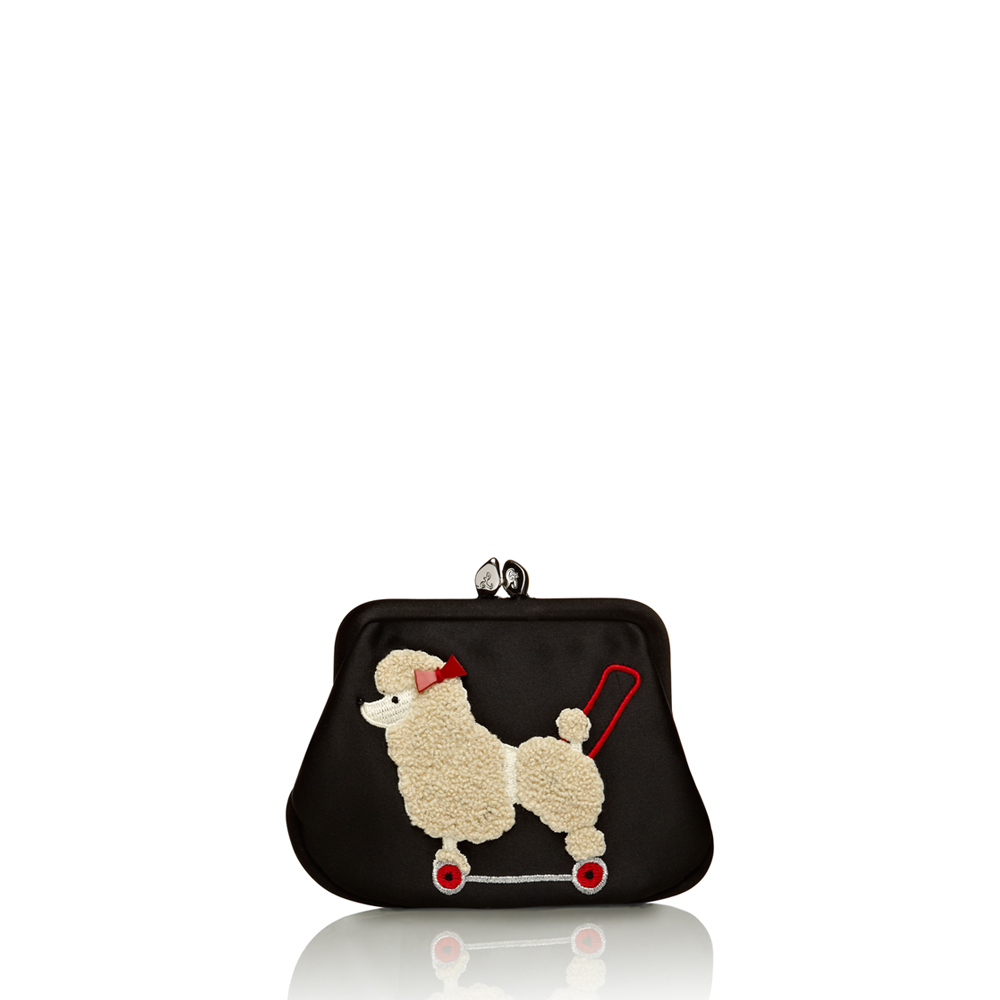 Lulu Guinness Poodle Mini Frame Purse in Black