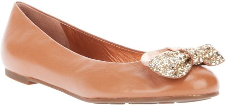 Marc By Marc Jacobs Bow Detail Ballet Pump in Brown - Lyst