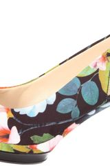 Nine West Womens Sharina Platform Sandal in Multicolor (black combo fabric) - Lyst