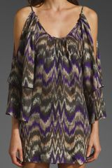 Parker Double Flared Sleeve Dress in Purple (purple zig zag) - Lyst
