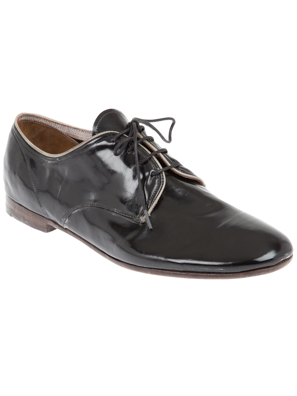 premiata patent leather shoe in black for lyst
