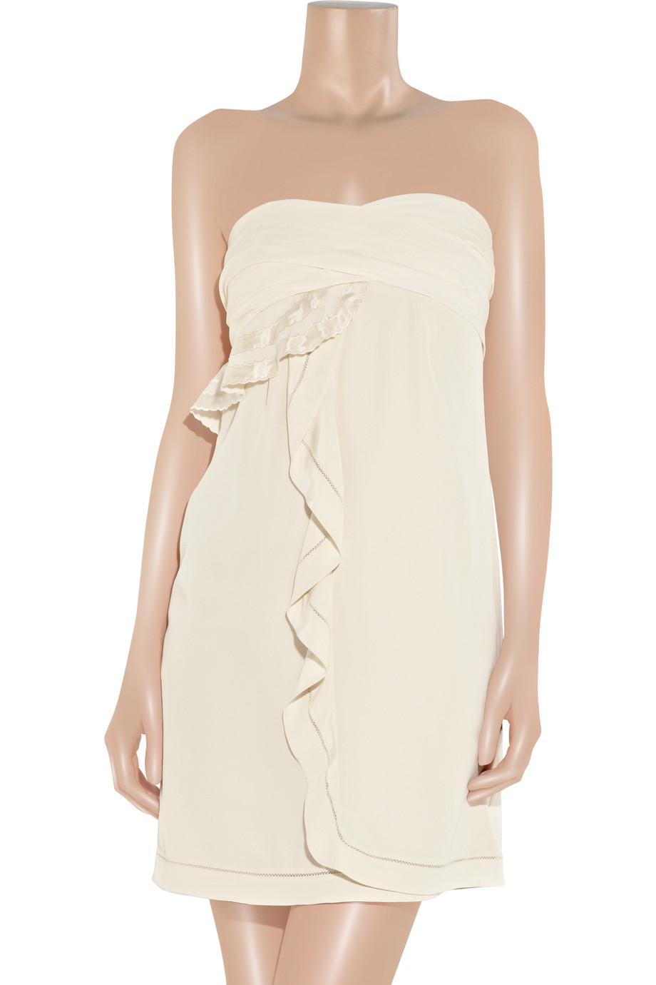 See By Chlo 233 Ruffled Silk Crepe De Chine Dress In Natural