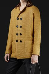 Burberry Prorsum Raffia Collar Knitted Coat