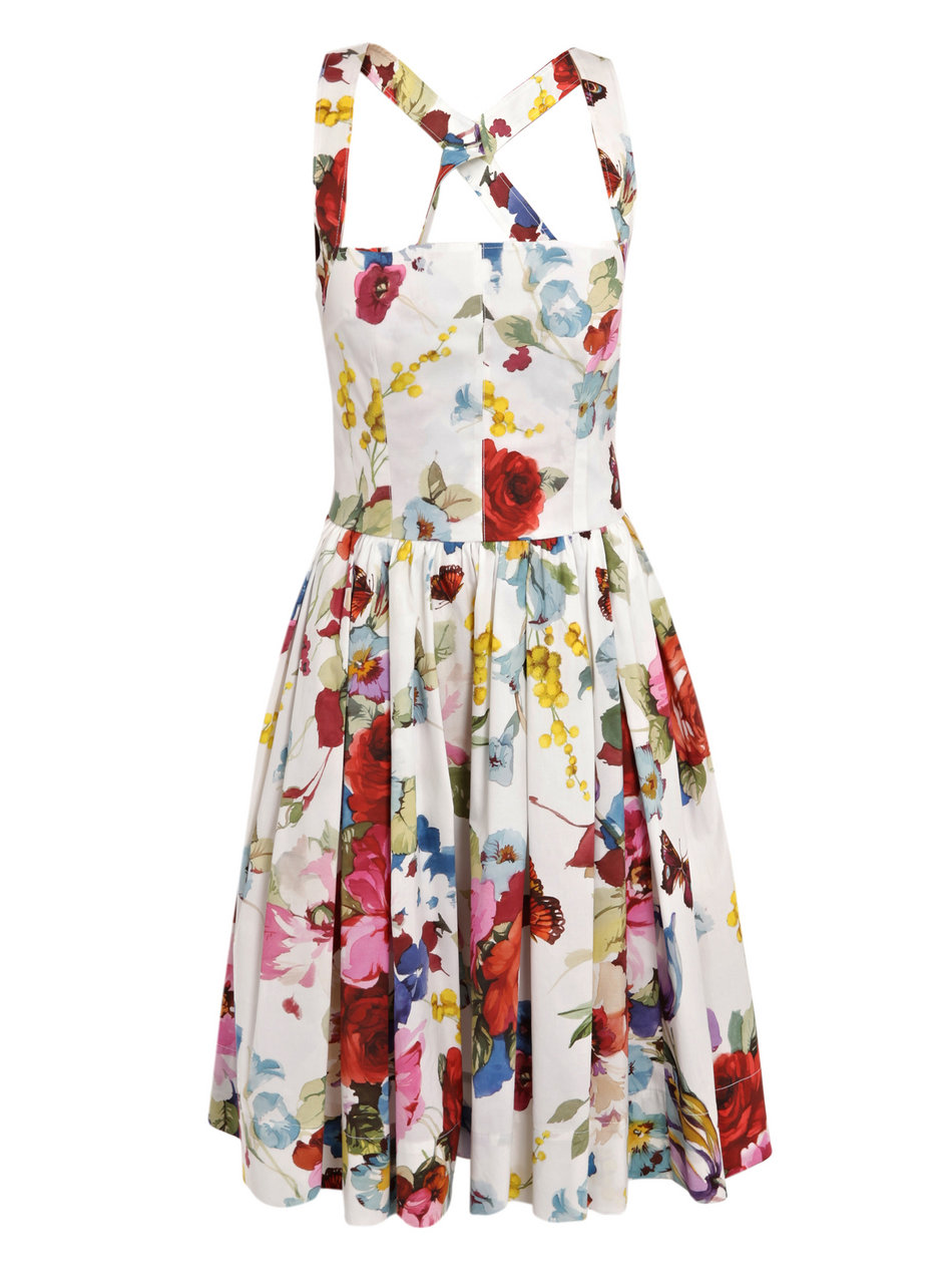 Dolce Amp Gabbana Butterfly Print Cotton Dress In Red Lyst