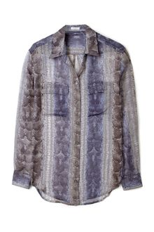 Equipment Python Print Chiffon Signature Shirt - Lyst