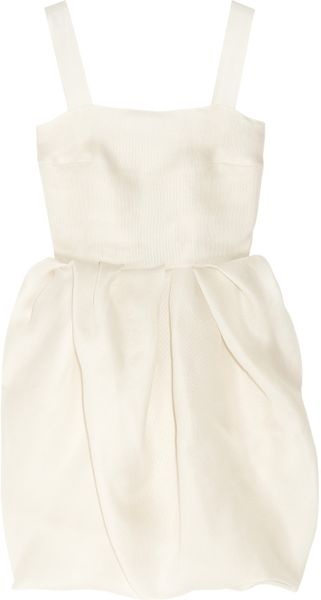 Lanvin Bubble-skirt Silk-gazar Dress in White - Lyst
