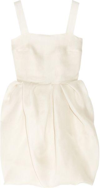 Lanvin Bubble-Skirt Silk-Gazar Dress in White