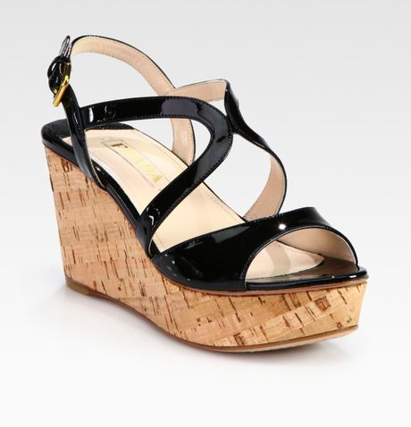 2008aa41110da Prada Black Patent Leather Wedge Sandals