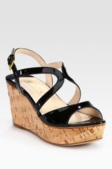 Prada Patent Leather and Cork Wedge Sandals - Lyst