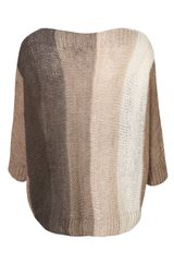 Topshop Stripe Cable Knit Top  in Beige - Lyst