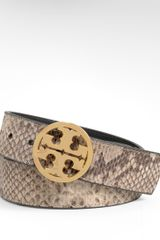 Tory Burch Python Reversible Logo Belt - Lyst