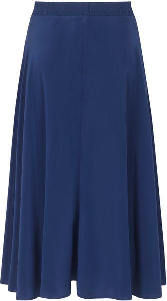 tucker navy high waisted silk midi skirt in blue navy lyst
