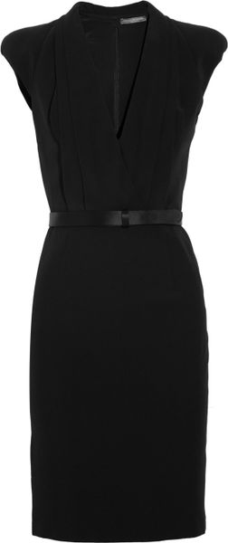 Alexander Mcqueen Crepe WrapEffect Dress in Black - Lyst