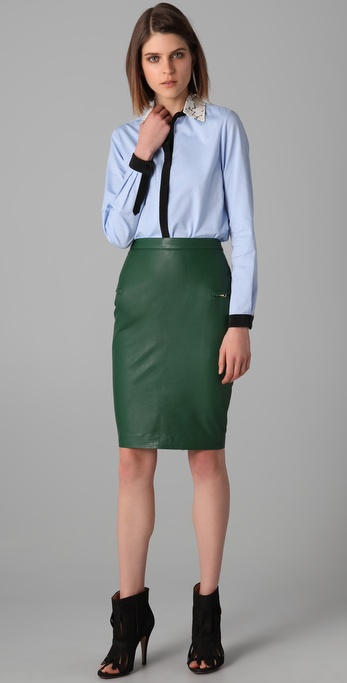 By malene birger Zipped Nappa Leather Pencil Skirt in Green | Lyst